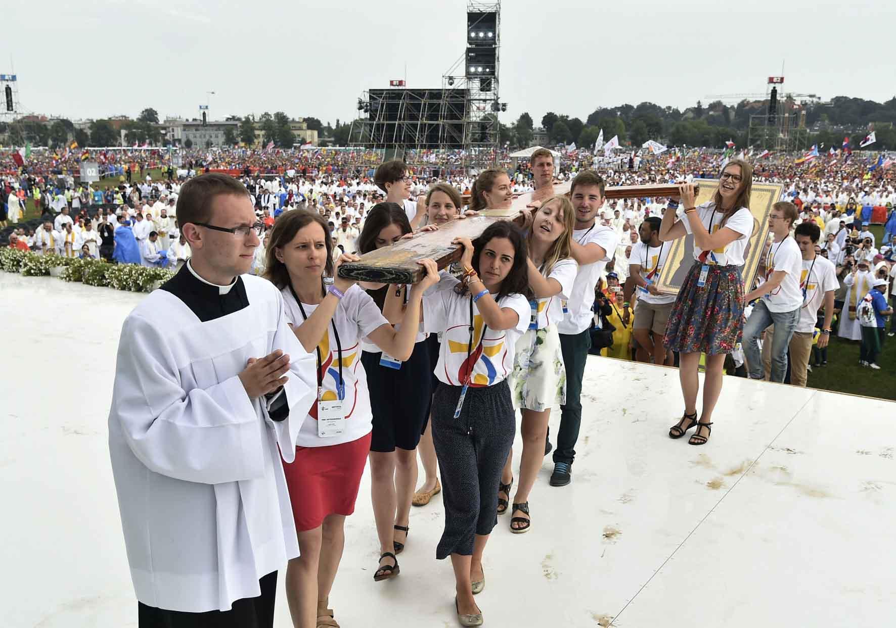Cracovia 26 luglio 2016. GMG 2016Giornata Mondiale della Giovent.Nel parco Blomia la Messa di apertura